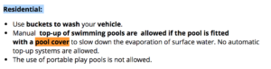 top-up of swimming pools are allowed
