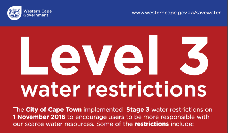 western cape level 3 water restrictions