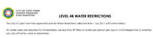 level 4b water restrictions cape town