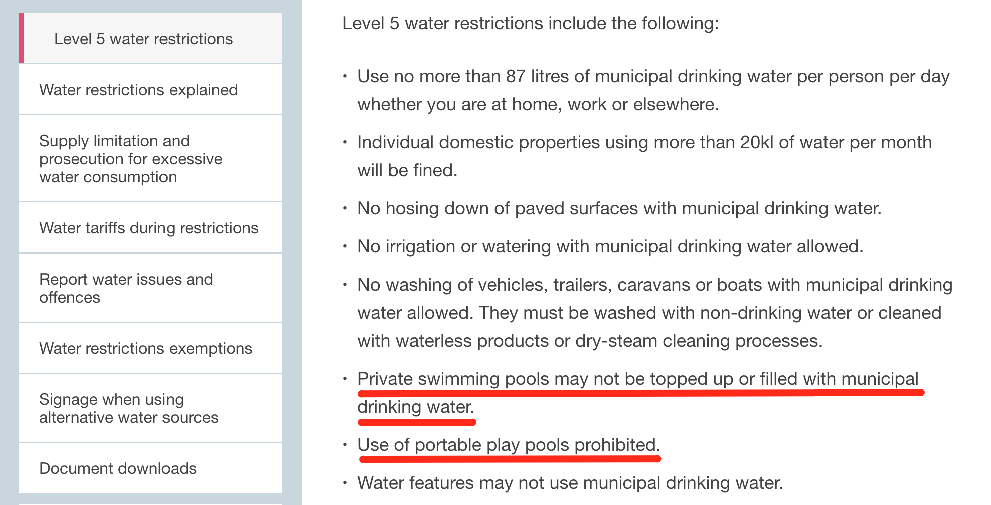 You May Not Top Up Your Swimming Pool With Municipal Water