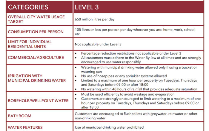 level 3 water restrictions cape town
