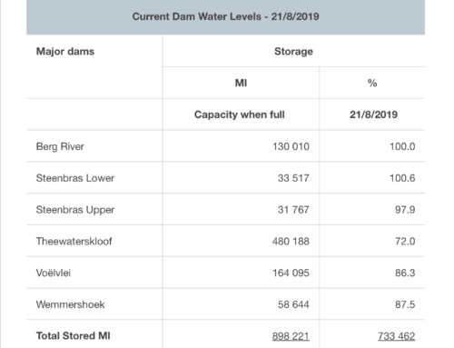 Western Cape Dam Levels – August 2019
